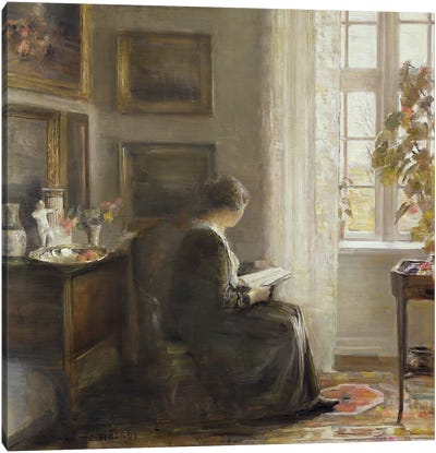 Reading by a Sunny Window Canvas Art Print