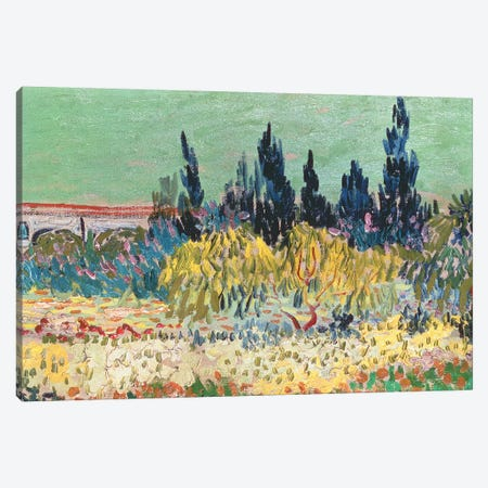 The Garden at Arles, detail of the cypress trees, 1888 Canvas Print #BMN9113} by Vincent van Gogh Canvas Art Print
