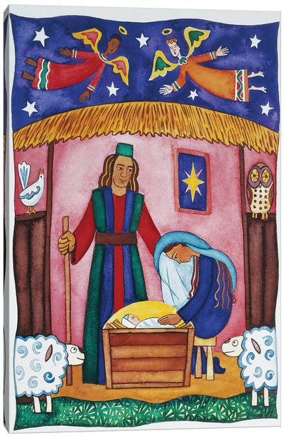 Nativity with Angels Canvas Art Print