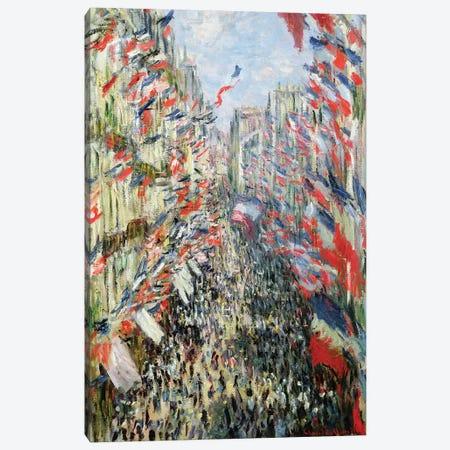 The Rue Montorgueil, Paris, Celebration of June 30, 1878  Canvas Print #BMN911} by Claude Monet Canvas Artwork
