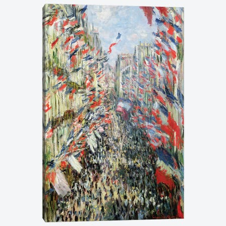 The Rue Montorgueil, Paris, Celebration of June 30, 1878  Canvas Print #BMN911} by Claude Monet Canvas Artwork