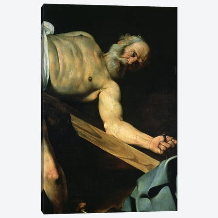 The Crucifixion of St. Peter, detail of St. Peter, 1600-01 Canvas Print #BMN9125} by Michelangelo Merisi da Caravaggio Canvas Print