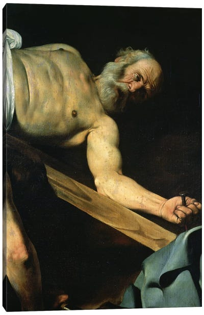 The Crucifixion of St. Peter, detail of St. Peter, 1600-01 Canvas Art Print