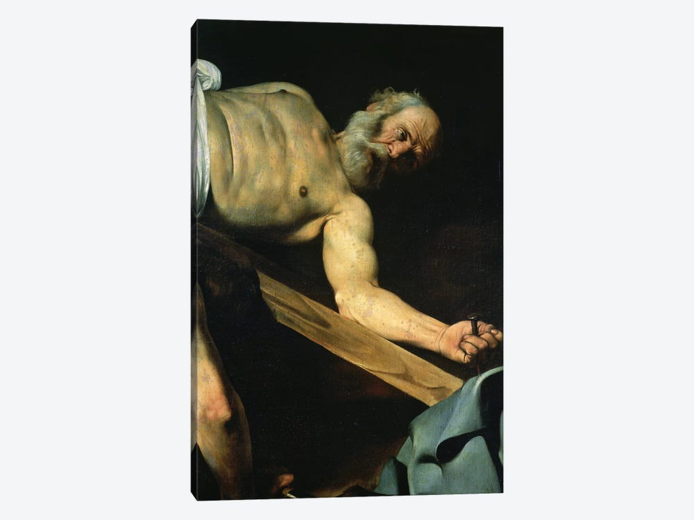 The Crucifixion of St. Peter, detail of St. Peter, 1600-01 by Michelangelo Merisi da Caravaggio 1-piece Canvas Art