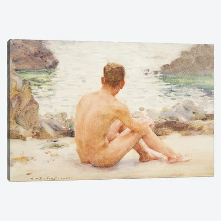 Charlie Seated On The Sand Canvas Print #BMN9126} by Henry Scott Tuke Art Print