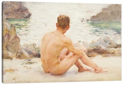 Charlie Seated On The Sand Canvas Art Print