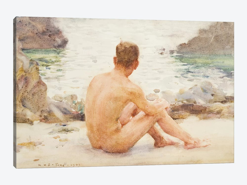 Charlie Seated On The Sand by Henry Scott Tuke 1-piece Art Print