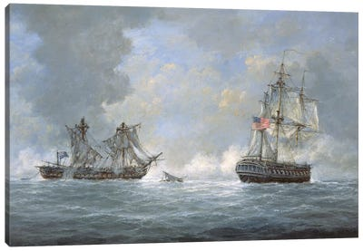 The action between U.S Frigate 'United States' and the British frigate 'Macedonian' off the Canary Islands on October 25th, 1812 Canvas Art Print