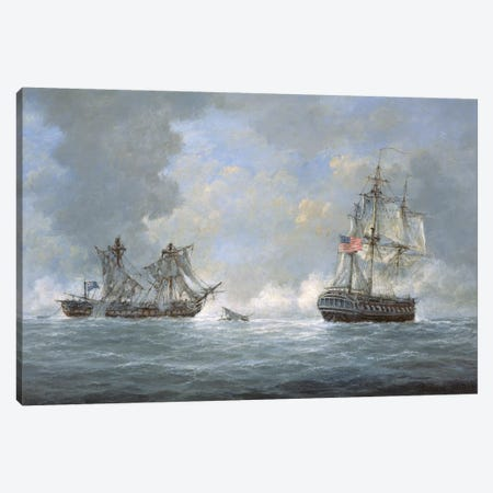 The action between U.S Frigate 'United States' and the British frigate 'Macedonian' off the Canary Islands on October 25th, 1812 Canvas Print #BMN9132} by Richard Willis Art Print