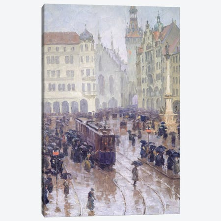 Martienplatz in Munich in the winter of 1915 Canvas Print #BMN9136} by Charles Wetter Canvas Wall Art
