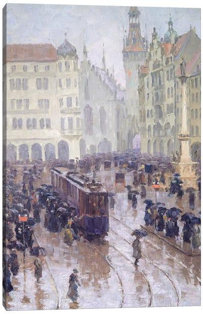 Martienplatz in Munich in the winter of 1915 Canvas Art Print