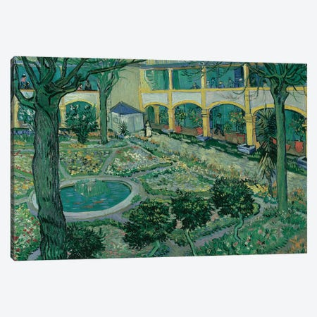 The Courtyard of the Hospital at Arles, 1889 Canvas Print #BMN9138} by Vincent van Gogh Art Print