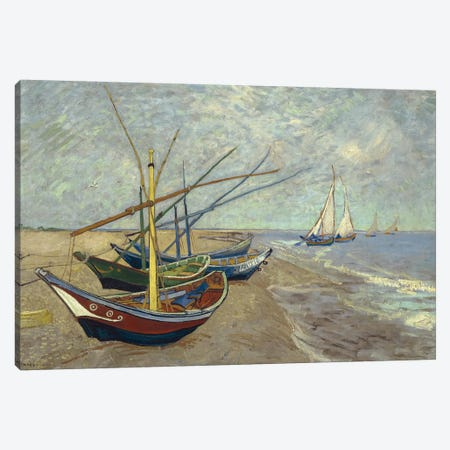Fishing Boats on the Beach at Saintes-Maries-de-la-Mer, 1888 Canvas Print #BMN9144} by Vincent van Gogh Canvas Art Print