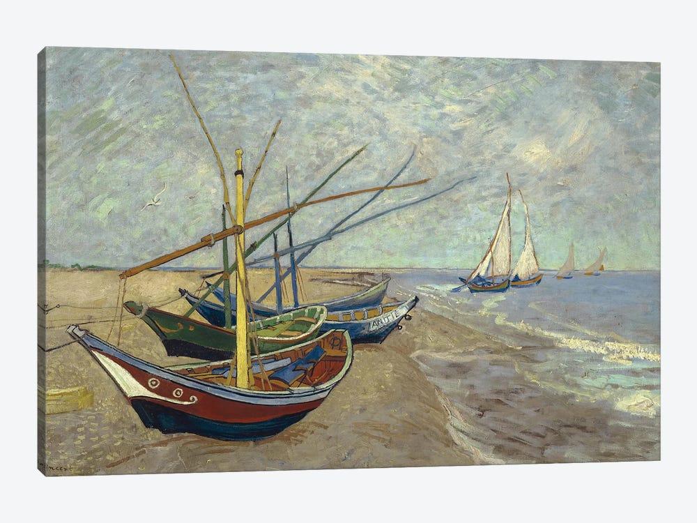 Fishing Boats on the Beach at Saintes-Maries-de-la-Mer, 1888 by Vincent van Gogh 1-piece Canvas Print