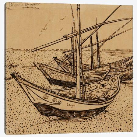 Fishing Boats on the Beach at Saintes-Maries-de-la-Mer, 1888 Canvas Print #BMN9145} by Vincent van Gogh Canvas Art Print