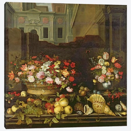 Still Life with Flowers, Fruits and Shells  Canvas Print #BMN914} by Balthasar van der Ast Canvas Art Print