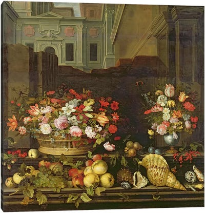 Still Life with Flowers, Fruits and Shells  Canvas Print #BMN914