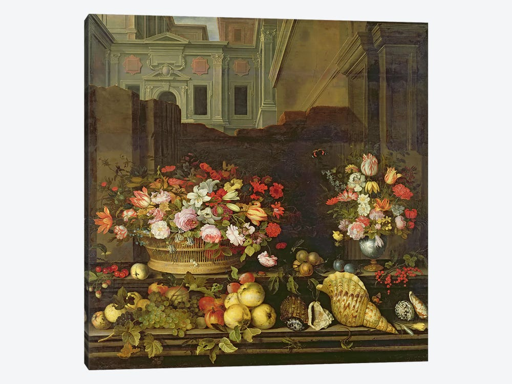 Still Life with Flowers, Fruits and Shells  by Balthasar van der Ast 1-piece Canvas Artwork