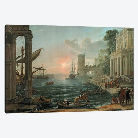 Seaport with the Embarkation of the Queen of Sheba, 1648 Canvas Print #BMN9154} by Claude Lorrain Canvas Artwork