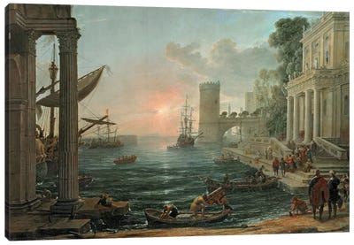 Seaport with the Embarkation of the Queen of Sheba, 1648 Canvas Art Print