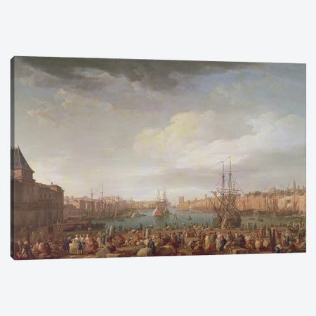 Morning View of the Inner Port of Marseille and the Pavilion of the Horloge du Parc, 1754 Canvas Print #BMN9156} by Claude Joseph Vernet Canvas Artwork