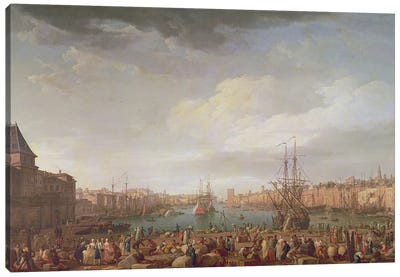 Morning View of the Inner Port of Marseille and the Pavilion of the Horloge du Parc, 1754 Canvas Art Print
