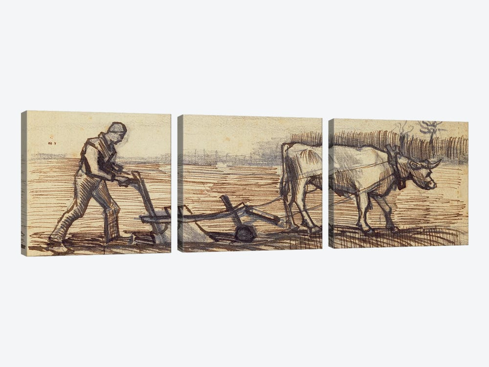 At the Plough, from a series of four drawings representing the four seasons by Vincent van Gogh 3-piece Canvas Print