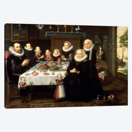 A Portrait of a Family saying Grace Before a Meal, 1602  Canvas Print #BMN915} by Gortzius Geldorp Art Print