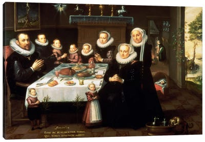 A Portrait of a Family saying Grace Before a Meal, 1602 Canvas Art Print