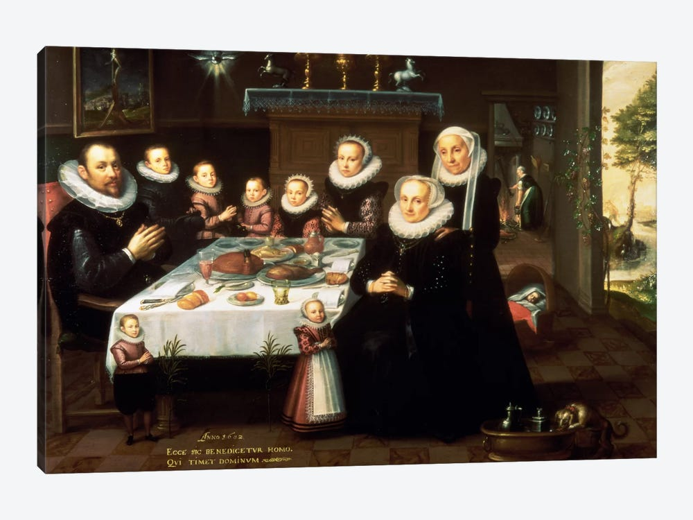 A Portrait of a Family saying Grace Before a Meal, 1602  by Gortzius Geldorp 1-piece Canvas Art Print