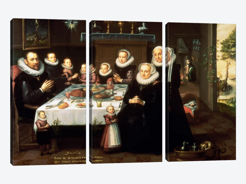 A Portrait of a Family saying Grace Before a Meal, 1602  by Gortzius Geldorp 3-piece Art Print
