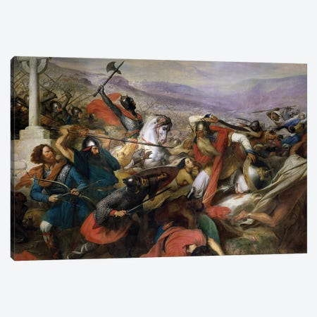 The Battle of Poitiers, 25th October 732, won by Charles Martel  1837 Canvas Print #BMN9160} by Charles Auguste Steuben Canvas Art