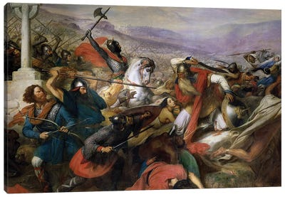 The Battle of Poitiers, 25th October 732, won by Charles Martel  1837 Canvas Art Print