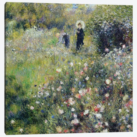 Woman with a Parasol in a garden, 1875  Canvas Print #BMN917} by Pierre-Auguste Renoir Canvas Art Print