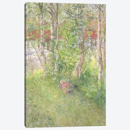A Nap Outdoors Canvas Print #BMN9182} by Carl Larsson Canvas Wall Art