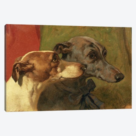 The Greyhounds 'Charley' and 'Jimmy' in an Interior Canvas Print #BMN919} by John Frederick Herring Sr Canvas Wall Art