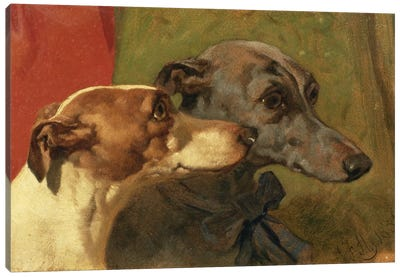 The Greyhounds 'Charley' and 'Jimmy' in an Interior Canvas Art Print