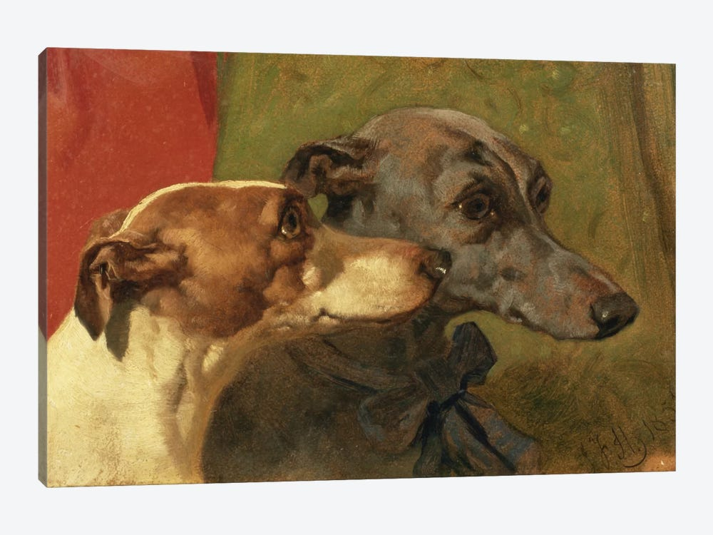 The Greyhounds 'Charley' and 'Jimmy' in an Interior by John Frederick Herring Sr 1-piece Canvas Art Print