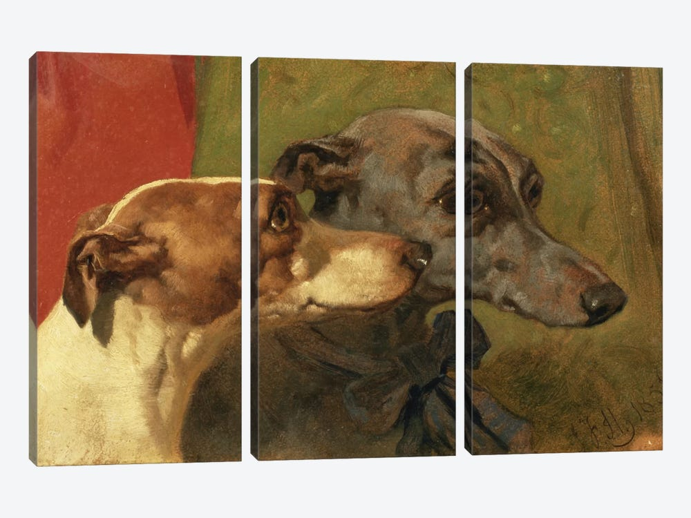 The Greyhounds 'Charley' and 'Jimmy' in an Interior by John Frederick Herring Sr 3-piece Canvas Print