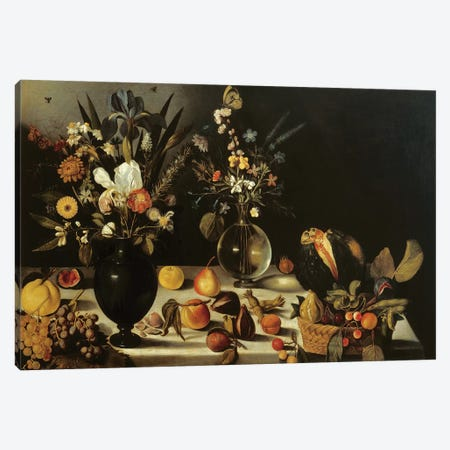Still life with flowers and fruit, by Master of the Hartford Still Life, c.1600-10 Canvas Print #BMN9203} by Michelangelo Merisi da Caravaggio Canvas Art Print