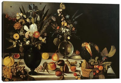 Still life with flowers and fruit, by Master of the Hartford Still Life, c.1600-10 Canvas Art Print