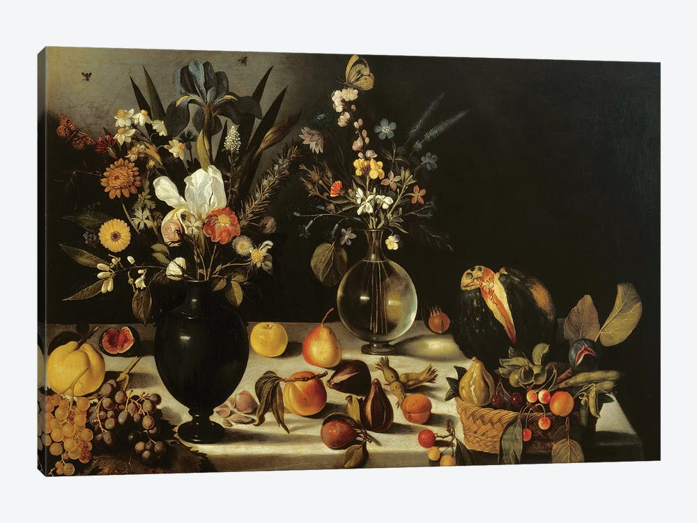 Still life with flowers and fruit, by Master of the Hartford Still Life, c.1600-10 by Michelangelo Merisi da Caravaggio 1-piece Canvas Artwork