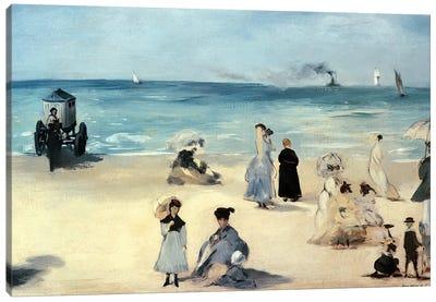 On the Beach, Boulogne-sur-Mer, 1868 Canvas Art Print