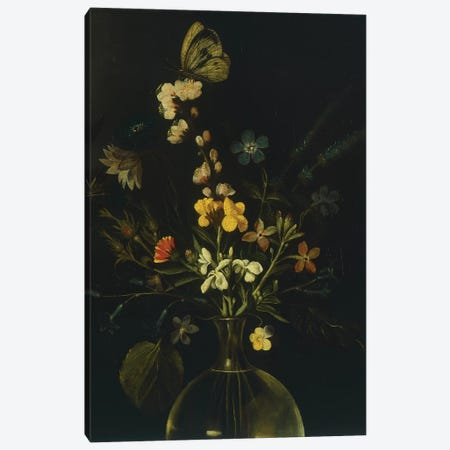 Still life with flowers and fruit, by Master of the Hartford Still Life, c.1600-10 Canvas Print #BMN9210} by Michelangelo Merisi da Caravaggio Canvas Wall Art