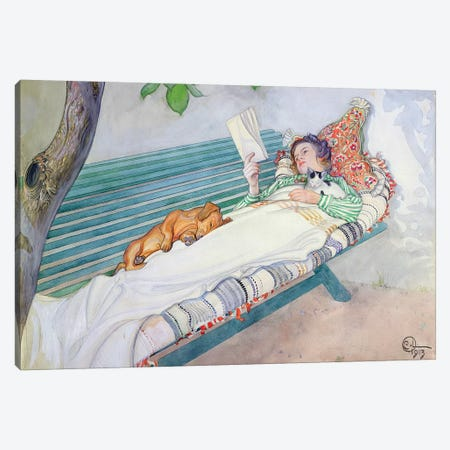 Woman Lying on a Bench, 1913 Canvas Print #BMN9211} by Carl Larsson Canvas Art