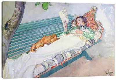 Woman Lying on a Bench, 1913 Canvas Art Print
