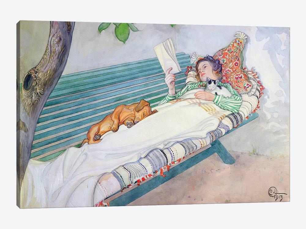 Woman Lying on a Bench, 1913 by Carl Larsson 1-piece Art Print