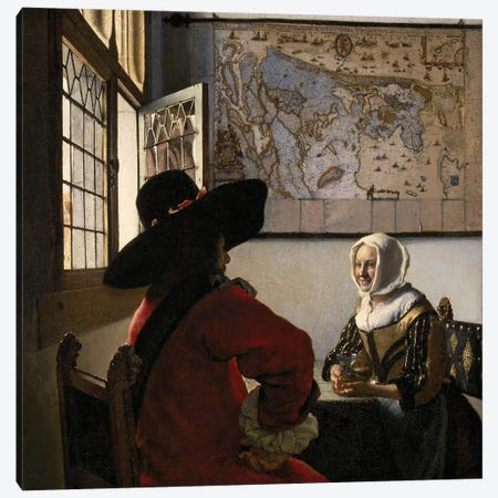 Officer And Laughing Girl, c. 1657-58 Canvas Print #BMN9217} by Jan Vermeer Canvas Art Print