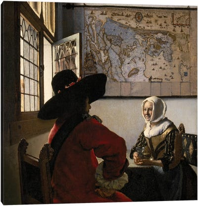 Officer And Laughing Girl, c. 1657-58 Canvas Art Print