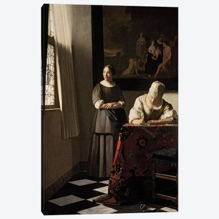 Lady Writing A Letter With Her Maid Canvas Print #BMN9218} by Jan Vermeer Canvas Artwork